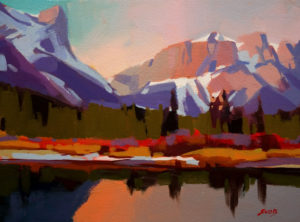 "SOLD ""Bow Reflection (Canmore),"" by Mike Svob 9 x 12 - acrylic $585 Unframed $780 with Show frame"