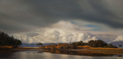 "SOLD ""Breaking Storm Over the Lagoon,"" by Ray Ward 18 x 36 - oil $2460 in show frame $2370 in standard frame"