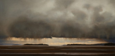 "SOLD ""Break on the Horizon,"" by Ray Ward 10 x 20 - oil $1230 in show frame $1200 in standard frame"