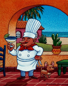 "SOLD ""Chef Fernando and His Dog Chico,"" by Michael Stockdale 8 x 10 - acrylic $370 (thick canvas wrap without frame)"