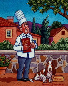 "SOLD ""Chef Henri and His Dog Cookie,"" by Michael Stockdale 8 x 10 - acrylic $370 (thick canvas wrap without frame)"