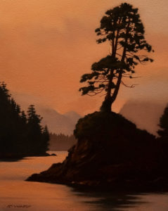 "SOLD ""Clayoquot Dusk,"" by Ray Ward 8 x 10 - oil $560 Unframed $720 with Show frame"