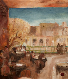 "SOLD ""Coffee Bar, Havana,"" by H. E. Kuckein 12 x 14 - oil $1200 Unframed $1410 with Show frame"