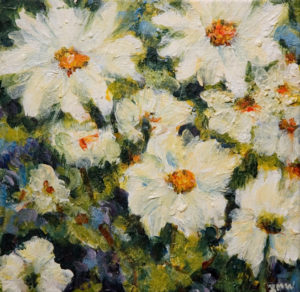 "SOLD ""Daisies I,"" by Ingrid Mann-Willis 8 x 8 - acrylic $180 Unframed $360 with Show frame"