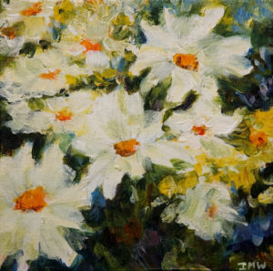 "SOLD ""Daisies II,"" by Ingrid Mann-Willis 8 x 8 - acrylic $180 Unframed $360 with Show frame"