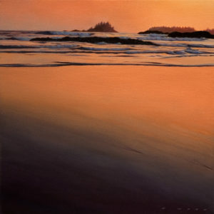 "SOLD ""Distant Breakers at Dusk (Study),"" by Ray Ward 12 x 12 - oil $960 Framed"