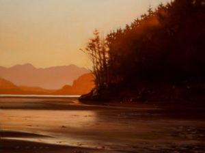 "SOLD ""Dusk at the Point,"" by Ray Ward 9 x 12 - oil $865 Framed"