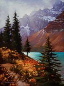 "SOLD ""Early Autumn, Bow Lake,"" by Ray Ward 9 x 12 - oil $650 Unframed $845 with Show frame"