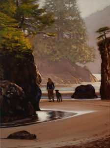 "SOLD ""Early Evening, San Josef Bay,"" by Ray Ward 12 x 16 - oil $1070 in show frame $1060 in standard frame"