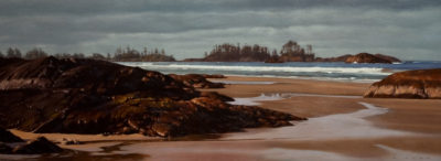 "SOLD ""Ebb Tide, Chesterman,"" by Ray Ward 18 x 48 - oil $3140 in show frame $3020 in standard frame"