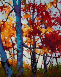"SOLD ""Fall Sky,"" by Mike Svob 8 x 10 - acrylic $665 Framed $500 Unframed"
