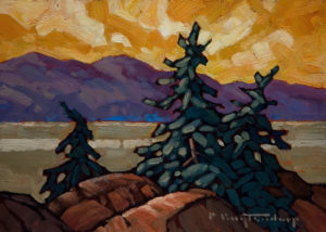 "SOLD ""Far Shore,"" by Phil Buytendorp 5 x 7 - oil $565 Framed $415 Unframed"
