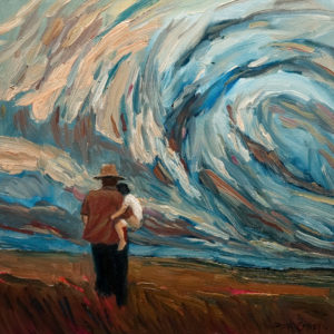 "SOLD ""Father and Child With Storm,"" by Steve Coffey 12 x 12 - oil $840 (thick canvas wrap without frame)"