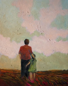 "SOLD ""Father and Daughter in Early Eve,"" by Steve Coffey 11 x 14 - oil $875 (thick canvas wrap without frame)"