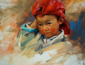 "SOLD ""Figuring It Out,"" by Donna Zhang 14 x 18 - oil $2200 in show frame $2120 in standard frame"