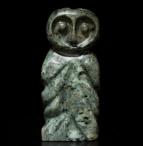 "SOLD ""First Flight (Owlet),"" by Marilyn Armitage Brazilian soapstone 9 1/4"" (H) $510"