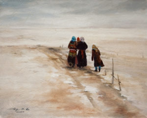 "SOLD ""First Skiff of Snow,"" by Donna Zhang 8 x 10 - oil $940 Framed"