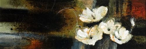 """SOLD """"Floating Flowers,"""" by Susan Flaig 14 x 40 - acrylic/mixed media/graphite $1560 in show frame $1540 in standard frame"""