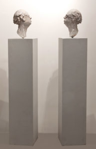 "SOLD ""Gratuitous Bailee (With a Nod to Gerhard Richter),"" by Michael Hermesh plaster - 67"" overall height (13 1/2"" bust height) $3000"