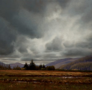 "SOLD ""Grey Sky Over Hansen Meadows,"" by Ray Ward 12 x 12 - oil $960 in show frame $940 in standard frame"