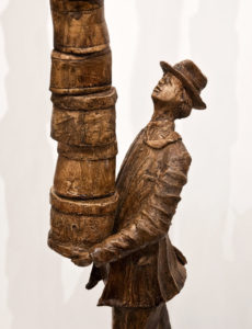 "SOLD ""The Hatbox Man,"" by Michael Hermesh 53 x 12 x 7 - ceramic $4250"