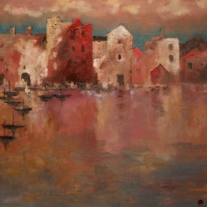"SOLD ""The Hooghly, Calcutta,"" by H. E. Kuckein 24 x 24 - oil $2400 Unframed $2840 with Show frame"