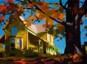 "SOLD ""House on the Hill,"" by Mike Svob 9 x 12 - acrylic $845 Framed $650 Unframed"