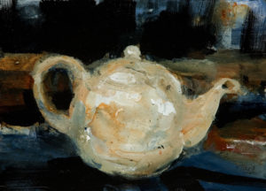 "SOLD ""I'm a little teapot, short and stout,"" by Susan Flaig 5 x 7 - acrylic/graphite $315 Unframed"