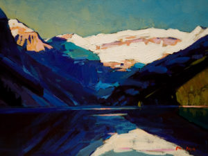 "SOLD ""Lake Louise,"" by Min Ma 6 x 8 - acrylic $350 Unframed $495 with Show frame"