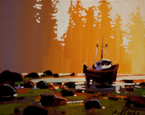 "SOLD ""Last Golden Light (in the Queen Charlottes),"" by Michael O'Toole 8 x 10 - acrylic $520 Unframed $675 with Show frame"