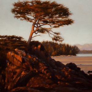"SOLD ""Last Light, Schooner Cove (Study),"" by Ray Ward 12 x 12 - oil $960 Framed"
