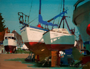 "SOLD ""Light and Shade at Crescent Beach Marina,"" by Robert Genn 11 x 14 - acrylic $2400 Unframed"