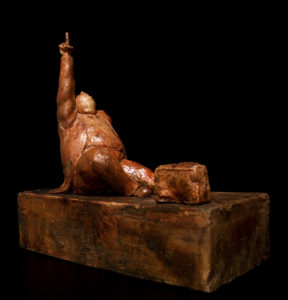 "SOLD ""This Magic Moment,"" by Michael Hermesh ceramic sculpture - 13"" (H) x 13"" (L) x 6 1/2"" (W) $2500"