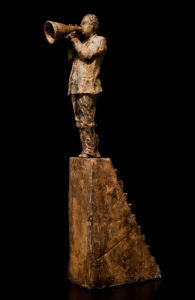 "SOLD ""The Megaphonist,"" by Michael Hermesh ceramic sculpture - 18 1/2"" (H) $1850"