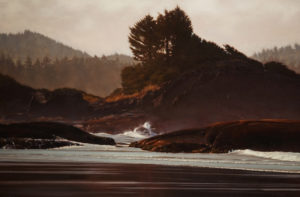 "SOLD ""Morning Mist, Pacific Rim,"" by Ray Ward 24 x 36 - oil $3100 in show frame $3000 in standard frame"