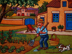 "SOLD ""Monsieur Champignon in His Garden,"" by Michael Stockdale 6 x 8 - acrylic $280 Unframed $360 with Show frame"