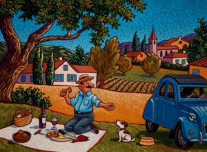 "SOLD ""Monsieur Champignon's Picnic,"" by Michael Stockdale 9 x 12 - acrylic $420 Unframed $595 with Show frame"
