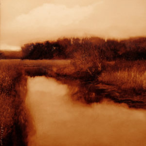 "SOLD ""Neaves Road Canal"" (study), by Renato Muccillo 5 x 5 - oil on mylar $1150 with Show frame"