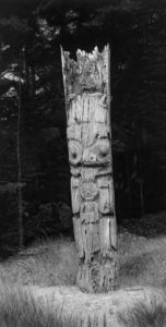 "SOLD ""Ninstints Memorial Pole,"" by Jim Nedelak 8 1/2 x 16 1/2 - charcoal drawing $2450 Custom framed"
