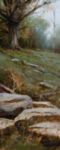 "SOLD ""October Hill (Study),"" by Renato Muccillo 3 x 7 - oil $1125 Framed"