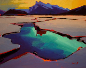 "SOLD ""Open Water (Mt. Rundle),"" by Mike Svob 8 x 10 - acrylic $435 Unframed $600 with Show frame"