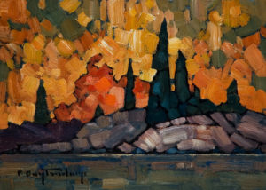 "SOLD ""Orange Bush,"" by Phil Buytendorp 5 x 7 - oil $565 Framed $415 Unframed"