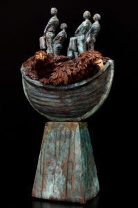 "SOLD ""The Passenger (Three Hour Tour),"" by Michael Hermesh ceramic sculpture - 25 1/2"" (H) x 15"" (L) x 13"" (W) $4000"