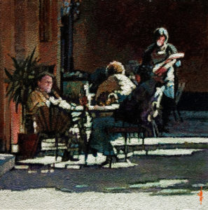 "SOLD ""Patio Lunch,"" by Alan Wylie 10 x 10 - acrylic $1440 Unframed $1625 with Show frame"
