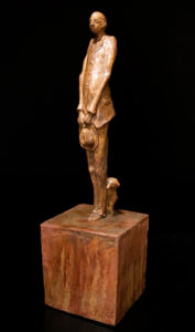 "SOLD ""The Philosopher,"" by Michael Hermesh ceramic sculpture - 25"" (H) $3000"