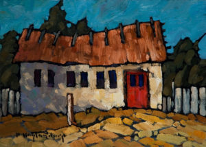 "SOLD ""Quebec Thatch,"" by Phil Buytendorp 5 x 7 - oil $565 Framed $415 Unframed"