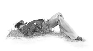 "SOLD ""Quick Nap on the Trail,"" by Jim Nedelak 6 x 11 5/8 - charcoal drawing $700 Framed"