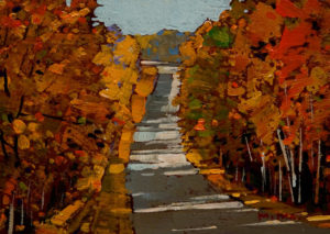 "SOLD ""Road Trip,"" by Min Ma 5 x 7 - acrylic $540 Framed $390 Unframed"