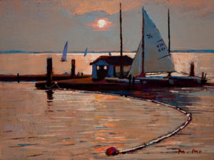 "SOLD ""Sails at Crescent Beach,"" by Min Ma 6 x 8 - acrylic $610 Framed $440 Unframed"