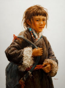 "SOLD ""School Girl,"" by Donna Zhang 30 x 40 - oil $7100 in show frame $6640 in standard frame"